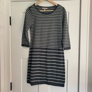 Banana Republic Grey Stripe Sweater Dress S